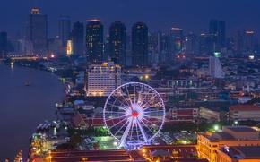 Обои огни, река, вид, здания, дома, небоскребы, освещение, подсветка, панорама, колесо обозрения, Тайланд, Бангкок, ночной город, ...