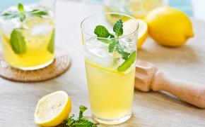Картинка стакан, лимон, напиток, мята, лимонад