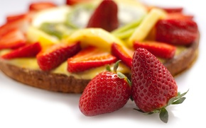 Картинка ягоды, клубника, торт, крем, десерт, выпечка, сладкое