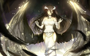 Обои арт, sishenfan, albedo, девушка, крылья, рога