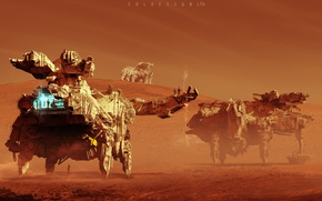 Картинка техника, Col Price, Mars Rovers, марсоходы