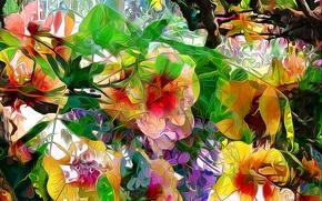 Картинка листья, линии, цветы, природа, рендеринг