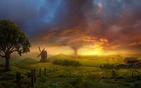 Обои мельница, буря, Поле, торнадо, качели
