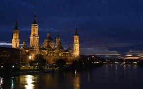 Картинка ночь, река, Испания, Сарагоса, Базилика-де-Нуэстра-Сеньора-дель-Пилар