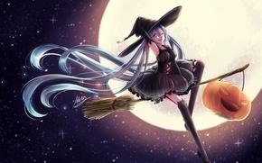 Картинка небо, девушка, звезды, луна, шляпа, аниме, арт, тыква, ведьма, метла, vocaloid, hatsune miku, halloween, atatos