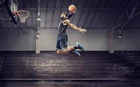 Обои прыжок, баскетбол, basketball, james, слен данк, nba all star 2012