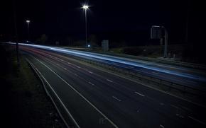 Картинка дорога, Огни, Ночь, Автобан