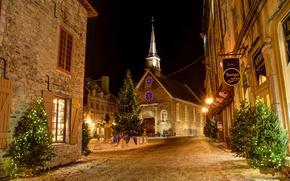 Картинка ночь, елки, Канада, Рождество, гирлянды, новогдние, Квибек
