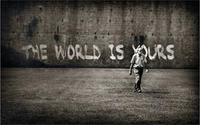 Картинка стена, надпись, мужчина, the World is yours, Мир принадлежит Вам