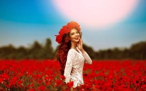 Картинка поле, девушка, цветы, настроение, маки, венок, боке