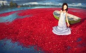 Картинка вода, девушка, озеро, ягоды, лодка, аниме, арт, yoshida seiji