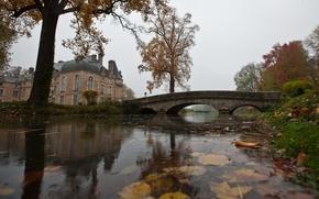 Обои дом, мост, вода, пруд, осень, дождь, листья