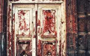 Обои door, colors, red, peeling paint, white