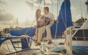 Картинка гитара, яхта, пара, двое