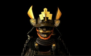 Картинка доспехи, шлем, Japan, черный фон