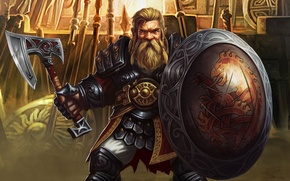Картинка axe, fantasy, game, soldier, man, dragon, MMORPG, viking, shield, armour, warrior, RPG, medieval, powerful, strong, ...