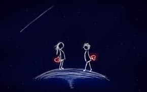 Обои космос, звезды, любовь, настроения, сердца, пара, сердечки, mood