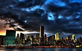 Обои тучи, небоскребы, нью-йорк