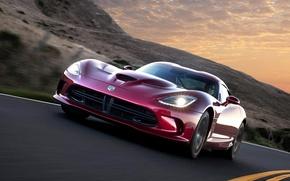 Картинка Вечер, Красная, Машина, Скорость, Додж, Light, Car, 2012, Автомобиль, Dodge Viper, Speed, GTS, ГТС, Вайпер, …