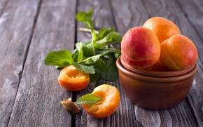 Картинка листья, доски, миска, фрукты, мята, абрикосы