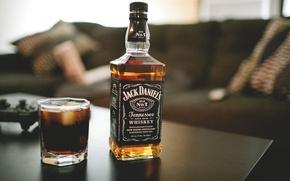 Обои jack daniels, стакан, виски, бутылка