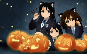 Картинка настроение, аниме, тыквы, akiyama mio, k-on, hirasawa yui, nakano azusa, хеллоуин