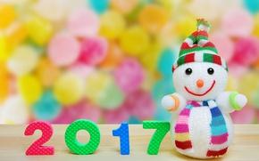 Картинка christmas, new year, snowman, 2017