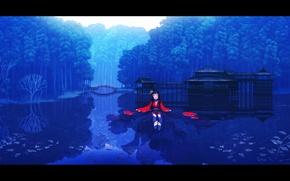 Картинка вода, девушка, природа, дома, арт, rias-coast