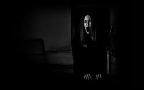 Картинка лицо, темнота, страх, мрак, Девушка, ужас, гримаса