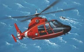 Картинка art, painting, Eurocopter AS365 Dauphin, helicopter.aviation