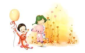 Обои цветы, дети, девочки, игрушки, рисунок, смех, веселье, воздушный шарик