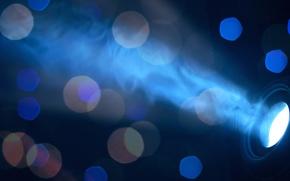 Картинка боке, свет, синий, фон