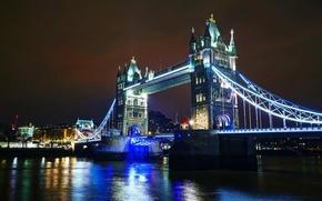 Обои мост, Англия, Лондон, Темза, огни, ночь, Tower Bridge, река