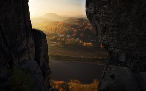 Картинка свет, скалы, вид, долина, дымка