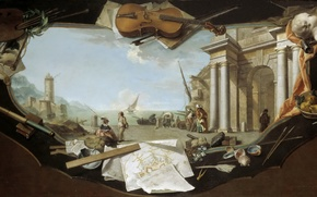 Картинка море, город, люди, коллаж, лодка, дома, картина, парус, Charles Joseph Flipart, Архитектурный Пейзаж