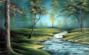Картинка лес, трава, вода, деревья, пейзаж, ручей, картина, живопись, Bob Ross, Боб Росс