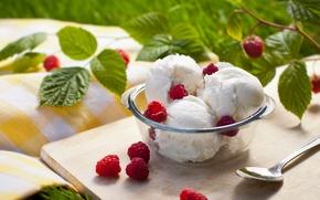 Обои мороженое, малина, еда
