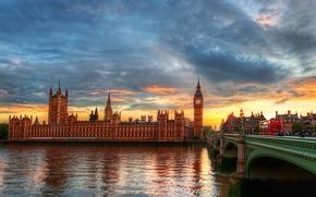 Картинка город, река, Лондон, темза, башня с часами, Вестминстерский дворец