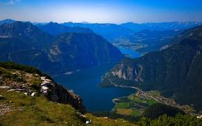 Картинка небо, деревья, горы, озеро, дома, долина