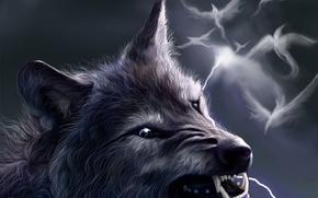 Обои птицы, фентези, молния, волк, оскал, оборотень