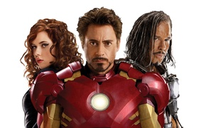 Картинка актриса, Scarlett Johansson, актер, злодей, боксер, Black Widow, Robert Downey Jr., хлыст, Ivan Vanko, Mickey …