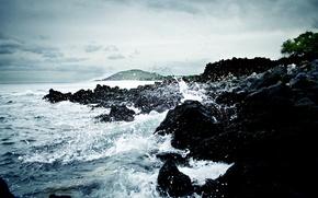 Обои море, волны, вода, скалы, камни, Гавайи
