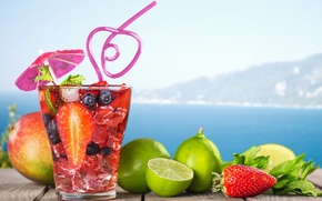 Обои fruit, paradise, drink, beach, пляж, cocktail, sea, море, коктейль, фрукты, summer, tropical, fresh