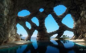 Обои песок, море, пальмы, фантастика, скалы, человек, арт, арки, грот, ячейки