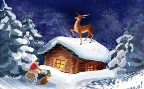 Обои олень, сказка, снег, зима