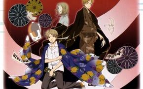 Картинка кот, узор, очки, кимоно, кисть, natsume yuujinchou, тетрадь дружбы нацумэ, ёкай, takashi natsume, nyanko-sensei, shuuichi …