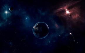 Картинка космос, планета, спутник, звёзды, бездна