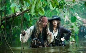 Обои вода, девушка, джунгли, Джонни Депп, Джек воробей, пистоли, Пираты карибского моря 4