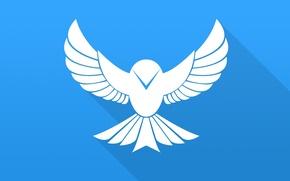 Обои птица, крылья, вектор, bird, blue, flat