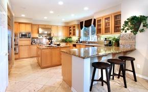 Картинка свет, дизайн, мебель, кухня, особняк, Design, Interior, Kitchen